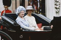 June 11, 1983: Princess Diana with Queen Elizabeth, the Queen mother riding in an open carriage at Trooping the Colour in London.