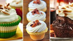 13 BOOZY FLAVORED CUPCAKES - Have your cocktail and eat it too with these luscious cupcakes that pay homage to your favorite drinks. - We've got a whole list of recipes for cupcakes that take their cue from cocktails. Bacon Cupcakes, Flavored Cupcakes, Alcohol Infused Cupcakes, Cupcakes For Men, Filled Cupcakes, Yummy Cupcakes, Just Desserts, Dessert Recipes, Unique Cupcake Recipes