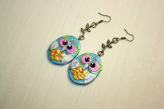 """video tutorial Earrings """"Owl"""" from polymer clay"""