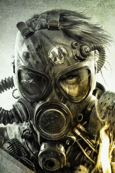 gaming books concept art scifi science fiction metro cyberpunk Cover Art william gibson post-apocalyptic metro last light post-apocalypse Post Apocalyptic Art, Post Apocalyptic Fashion, Gas Mask Art, Masks Art, Gas Masks, Digital Art Illustration, Dark Fantasy, Fantasy Art, Desenho Tattoo