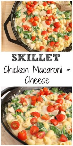 Skillet Chicken, Macaroni and Cheese is made with a homemade cheese sauce, seasoned chicken, and fresh veggies. It's a one-pot pasta your family is sure to devour! @Mom to Mom Nutrition