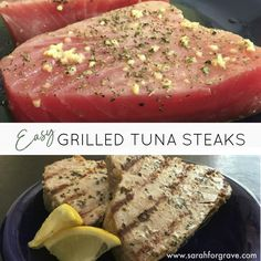 Easy Grilled Tuna Steak Recipe These tuna steaks can be cooked on the grill or broiled. A healthy addition to your dinner menu! Fresh Tuna Steak Recipes, Ahi Tuna Steak Recipe, Healthy Tuna Recipes, Grilled Tuna Steaks, Easy Steak Recipes, Seafood Recipes, Seared Tuna, Tuna Meat, Steak Recipes