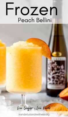 This frozen peach bellini is a delicious summer cocktail that's low in both carbs and sugars. Using just 3 simple ingredients, this drink is the perfect summertime cocktail! Peach Bellini Recipe, Frozen Peach Bellini, Frozen Cocktails, Winter Cocktails, Fancy Drinks, Yummy Drinks, Watermelon Cocktail, Cooking Challenge, Alcohol
