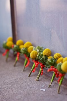 Craspedia succulents Wedding Boutonnieres