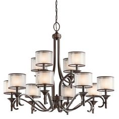 "Kichler Lacey 12 Light 42"" Wide 2-Tier Chandelier with Organza Shades and Diffusers - Mission Bronze Primary Image"