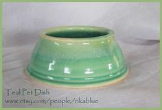 Teal Pottery spaniel dog bowl by rikablue on Etsy, $25.00
