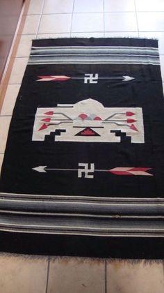 Large Chimayo War Symbols Rug Thunderbird Arrows Whirling Logs Late 1800s 193 | eBay