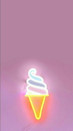 Soft Serve A whipped, pastel delight! White, bright neon is off setwith a pastel backing in blue, purple, pink and yellow. Constructed with LED neon and mounted on clear acrylic with a printed backing. Measurement: 41 cm x Iphone Wallpapers, Cute Wallpapers, Ice Cream Sign, Ice Cream Art, Tout Rose, Neon Aesthetic, Violet Aesthetic, Luz Led, Lampe Led