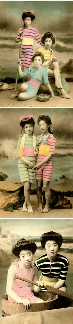 geishas in swimsuits - photographs from the early 1900's <3