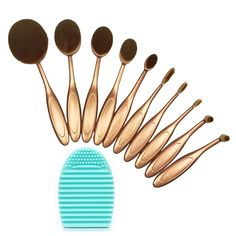 BeautyKate 10 Pcs Professional Oval Toothbrush Design Makeup Foundation Contour Curve Brushes Sets (Gold) With Silicone Cosmetic Cleaning Washing Glove Cleaner Egg (Green) * You can find more details by visiting the image link. Makeup Foundation Brush, Eyebrow Makeup, Makeup Brush Set, Brush Cleaner, Makeup Tools, Makeup Inspo, Nail Colors, Cosmetics, Brushes