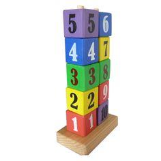 Menara Angka : Cara Bermain : – Tunjukan konsep jumlah bilangan mana lebih banyak dan mana lebih sedikit. – Berikan jumlah sesuai bilangan yang ada. Dari 1, 2 ,3 dan seterusnya. Susunlah dengan urutan yang benar. – Setelah bermain letak kembali di tempat yang baik, sehingga mainannya awet ya. Manfaat Bermain : Belajar Mengenal konsep bilangan. dikombinasikan dengan pengenalan warna dari kotak kotak kayu . Selain itu membantu anak melatih kesabaran serta motorik halusnya.