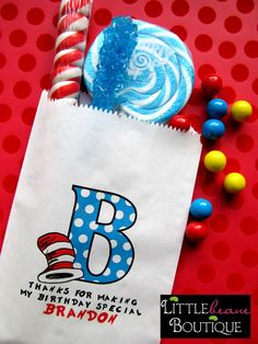 Dr. Seuss Birthday Party , Favor bags, candy bags, Candy Buffet, Birthday party, Sweets, Treats, Set of 24
