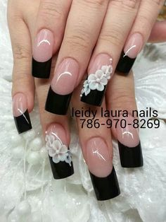 Black French mani with 3D white flowers