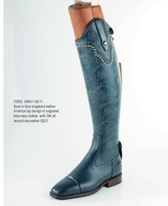 Engraved Blue leather, Engraves America top with Swagger tab, on dress boot. Contact us at stylemyride.net to order. Our #boots, come in traditonal competion colors and designs, or any color your heart desires. Style My Ride also innovated the interchangeable top, where riders can go from an all black traditonal look, and swap it out with as many options in leathers, colors , crystals, etc. once can imagine! #fashion, #equestrian