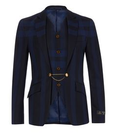 Vivienne Westwood Navy Tartan strip jacket with waistcoat. Amazing cut and detail - this is the wedding jacket!!