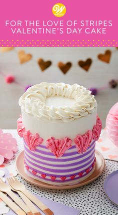 Surprise your Valentine with this cute striped buttercream cake. With lots of room for candles or a cake topper, this Valentine's Day cake can also be used for a bridal shower or February birthday. Valentines Day Desserts, Valentine Cake, Valentine Ideas, Cake Icing Tips, Buttercream Cake, Cupcakes, Cake Cookies, Cupcake Cakes, Holiday Cakes