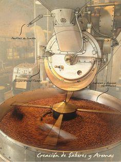 The Coffee Roaster by Elisa Ortiz , via Behance, ein echtes Schiff, riesig Coffee Brewer, Coffee Pods, Coffee Art, Roasters Coffee, Coffee Beans, Espresso Shot, Espresso Coffee, Iced Coffee, Coffee Process