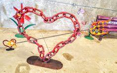 Raymond Guest Garden Artist Furniture Maker : Upcycled Metal Heart and Arrow Large Sculpture Gar...