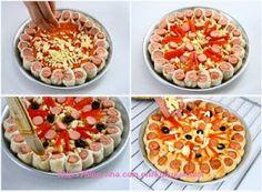 Συνταγές για μικρά και για.....μεγάλα παιδιά: Λαχταριστές Νοστιμιές-Λουκανικόπιτσα Sandwich Cake, Sandwiches, Appetizer Salads, Appetizers, The Dish, Food To Make, Waffles, Food And Drink, Pizza