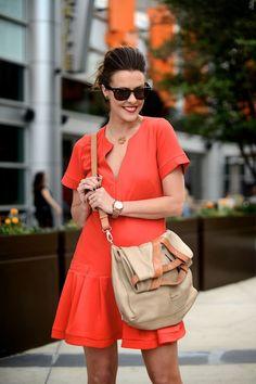 Drop waist red dress and a perfect messenger bag.