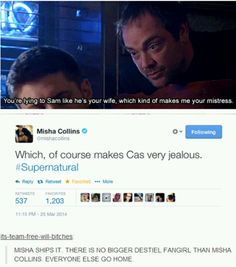 No one ships Destiel more than Misha does Supernatural, Pandora, Tv, Tvs, Occult, Television