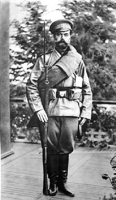 Tsar Nicholas ll of Russia on his way on a hike with the new uniform of his troops.Fully equipped with the usually gear carried by the soldiers.A♥W