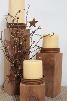 primitive candle holders Primitive Decor Country Candle Holders wood and canning jar lids So The latest in home decor accessories from the new Home collection # Primitive Candles, Primitive Crafts, Country Primitive, Primitive Homes, Primitive Decorations, Primitive Bedroom, Primitive Christmas, Craft Decorations, Primitive Stars