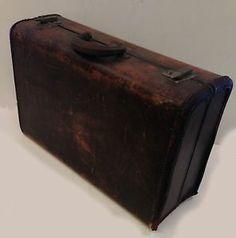 "Samsonite Carry-on Luggage Suitcase 21""x13""x7"" Brown Leather VINTAGE Needs TLC!"