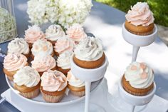 Peach and White Decorated Cupcakes Peach Wedding Theme, White Wedding Cupcakes, Elegant Wedding Themes, White Cupcakes, Diy Wedding, Wedding Stuff, Wedding Cakes, Wedding Ideas, Shower Inspiration