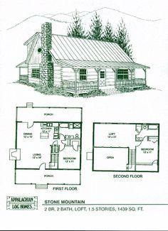 Stone Mountain - 2 Bed, 2 Bath, 1.5 Stories, 1439 sq. ft., Appalachian Log & Timber Homes, Hybrid Home Floor Plan