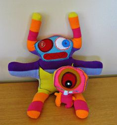 """Soft """"little monster toys"""", stuffed and cuddly for children of all ages, with African infusion. on Etsy, $40.00"""