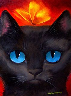 Famous Cat Paintings | Paintings By Jude Maceren: My Black Cat Painting Art Print