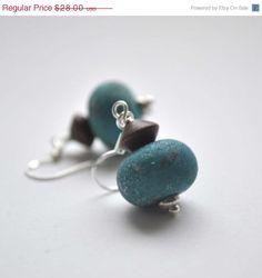 Sale Teal Blue Glass Earrings Wood Sterling Silver Ear by bstrung, $22.40