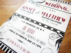 Old Hollywood Wedding Invitations