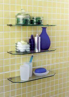 Repisas sencillas y elegantes para ba o con cristal 10 mm for Estantes vidrio bano