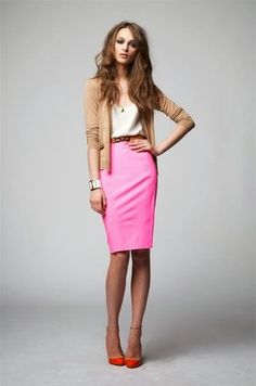 Perfect balance. The pink skirt paired with neutrals. A nude pump would look great too. Color Crush: Think Pink