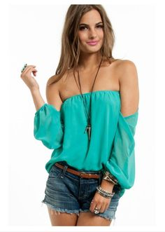 Off the Shoulder Top with Short and Cute Accesories.  <3