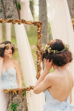 floral crown + antique mirror // photo by Simply Sarah Photography