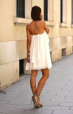 White Chiffon Layered Mini Dress