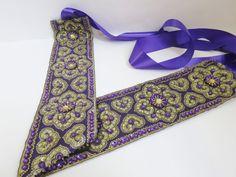 Belt cummerbund sash sequin stone seed beads violet satin ribbon adjustable prom
