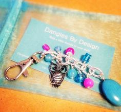 Purse #Origamiowl Blue pink keychain dangle jewelry by DanglesbyDesign, $8.00