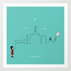 Liverpool Skyline Kite Art Print by keindesign Liverpool Skyline, Buy Frames, Kite, Travel Posters, Printing Process, Gallery Wall, Art Prints, Products, Art Impressions