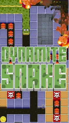 Dynamite Snake. This snake blows up as he crawls along -- can you keep him alive long enough to collect coins and escape the maze? The first few levels show you the ropes. Then things get tricky. And fun.