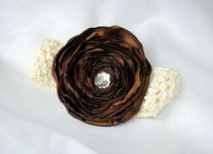 Brown flower clip with cream colored crochet headband. $8.00 #headband #hair accessories #bown #flower #crochet