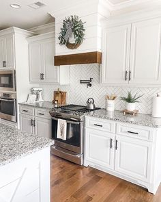 What's your favorite design aspect of this 🗣👇 (📸 — My favorites are the countertops and the vent… Kitchen Redo, Home Decor Kitchen, New Kitchen, Home Kitchens, Kitchen Remodel, Kitchen Ideas, Tiny Kitchens, Boho Kitchen, Farmhouse Kitchens