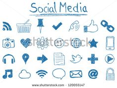 Illustration of Social Media Icons, hand-drawn style.social sites set. sketch media icon. web site signs. speech and thumbs drawings. UI mobile design media doodles.