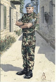 Alix Baker Postcard - AB21/7 Company Sergeant Major, 2nd Bn, Royal Regiment of Fusiliers (5th,6th, 7th, & 20th Foot), 1986 Cyprus