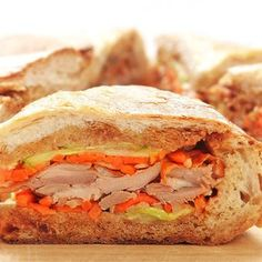 Roast Duck Shooter's-Style Sandwich With Pickled Carrots, Daikon, Cucumber, and Hoisin Sauce