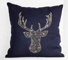 Deer Pillows -Stag embroidered in gold silver sequin -Linen pillows -Navy blue pillows -Navy pillows- Christmas pillows 16x16- Gift pillows