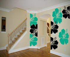 Don't like the teal ones but would large 3 large black or brown hibiscus flowers in my living room.